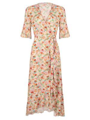 Esqualo wrap jurk in bloemenprint